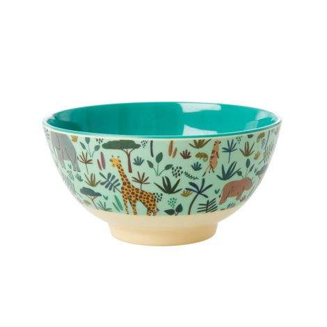 Rice Melamin Schüssel All Over Jungle Animals Two Tone Green