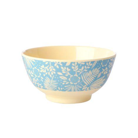 Rice Melamin Schüssel Blue Fern & Flower