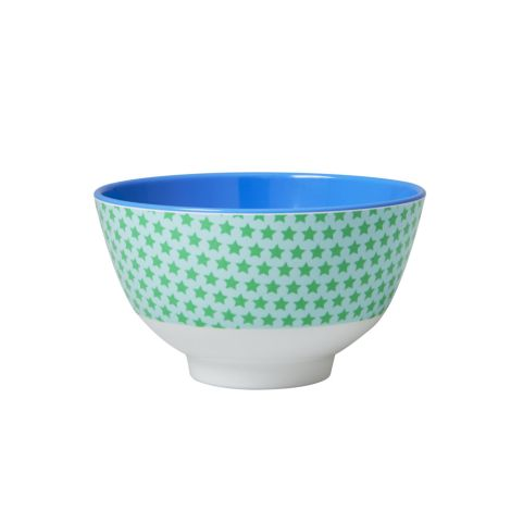 Rice Kleine Melaminschüssel Two Tone Star Print Green/Blue