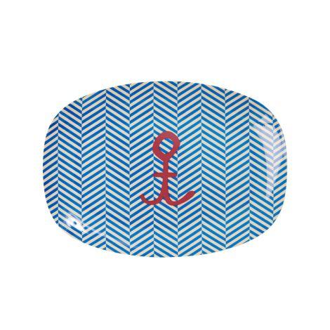 Rice Kleiner Melamin Teller Oval Sailor Stripe/Anchor