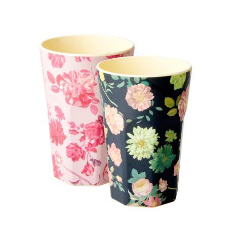 Rice Große Melamin Latte Becher Pink/ Dark Flower 2er-Set