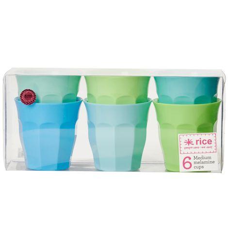 Rice Melamin Becher Curved Blue/Green 6er-Set