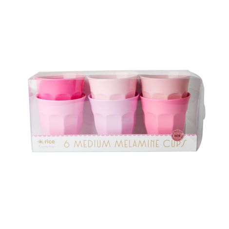 Rice Melamin Becher Curved 50 Shades of Pink 6er-Set