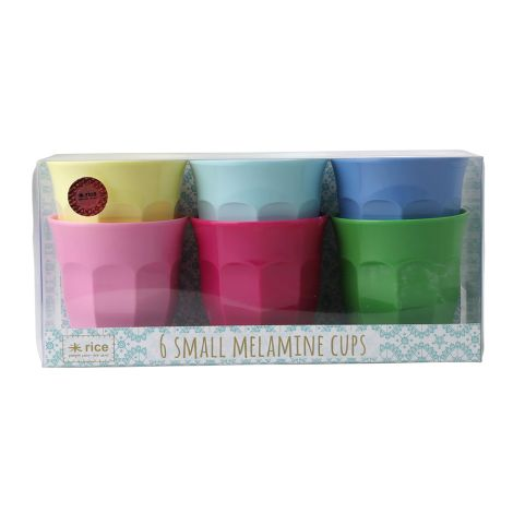 Rice Kleine Melamin Becher Curved Classic Colors 6er-Set