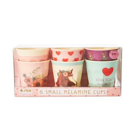Rice Melamin Becher Klein Farm Animals Pink 6er-Set