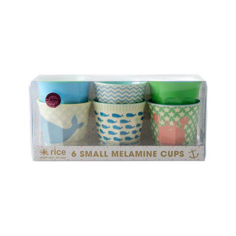 Rice Melamin Becher Geschenkbox Blue/Green Ocean Life 6er-Set