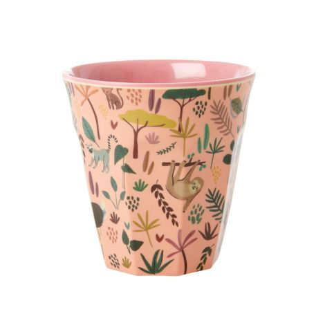 Rice Melamin Becher All Over Jungle Animals Two Tone Coral