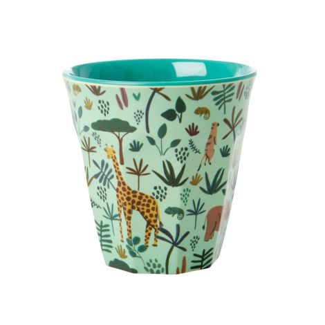 Rice Melamin Becher All Over Jungle Animals Two Tone Green