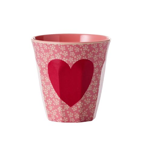 Rice Melamin Becher Two Tone Heart Coral Medium