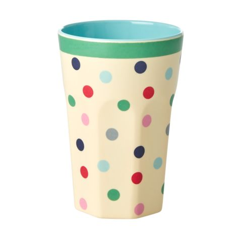 Rice Melamin Lattebecher Believe in Red Lipstick Dots Two Tone