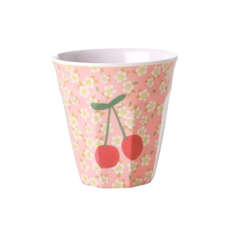 Rice Melamin Becher Small Flowers and Cherry Two Tone