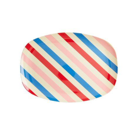 Rice Melamin Teller Oval Candy Stripes