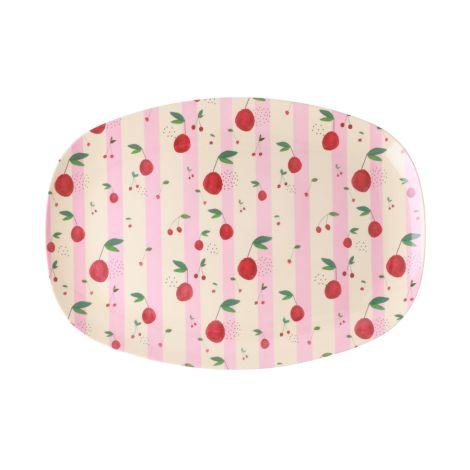 Rice Melamin Teller Oval Cherry