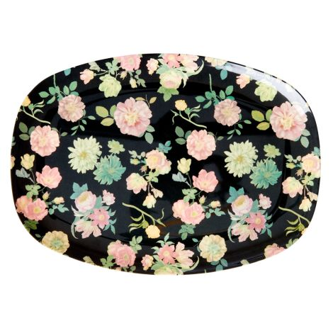 Rice Melamin Teller Oval Dark Rose