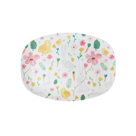 Rice Melamin Teller Oval Pink Easter