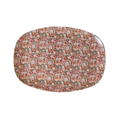 Rice Melamin Teller Oval Fall Floral