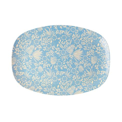 Rice Melamin Teller Oval Blue Fern & Flower