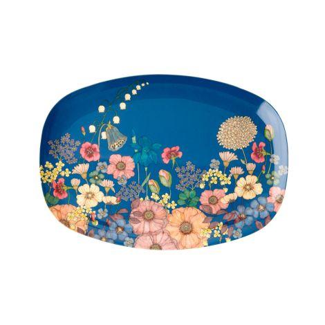 Rice Melamin Teller Oval Flower Collage