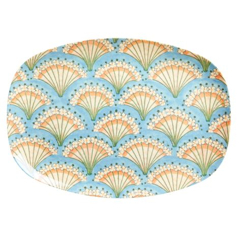Rice Melamin Teller Oval Flower Fan