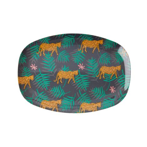 Rice Melamin Teller Oval Leopard and Leaves