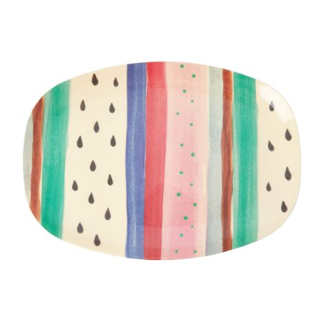 Rice Melamin Teller Oval Louise's Stripe