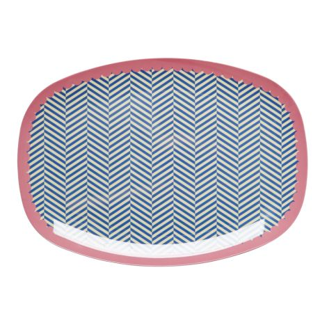 Rice Melamin Teller Oval Sailor Stripe