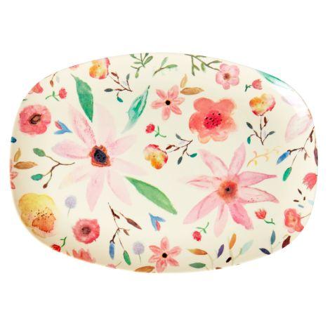 Rice Melamin Teller Oval Selmas Flower