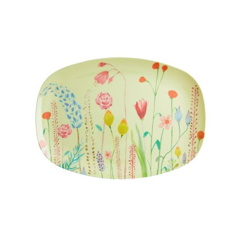Rice Melamin Teller Oval Summer Flowers