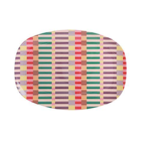 Rice Melamin Teller Oval Summer Stripes