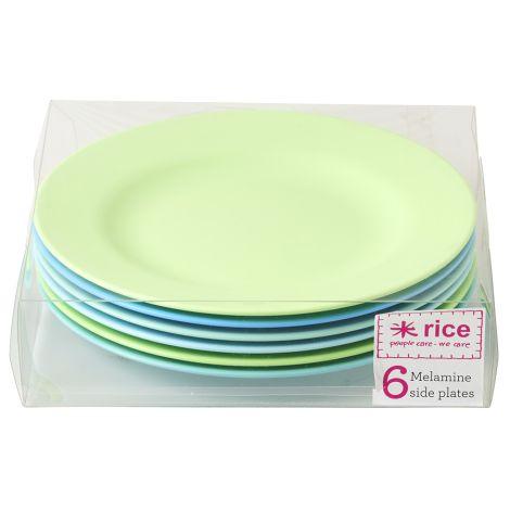 Rice Melamin Teller Blue/Green 6er-Set