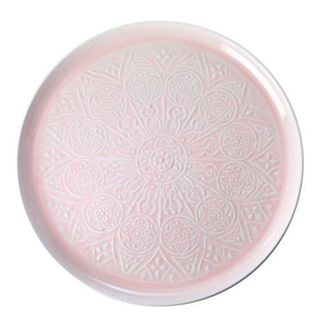 Rice Tablett Metall Pink 52 cm