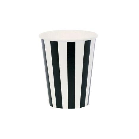 Miss Étoile Pappbecher Stripes Schwarz 8er-Set •