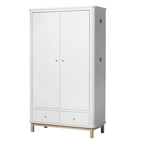 Oliver Furniture Wood Kleiderschrank 2-Türig Weiß/Eiche