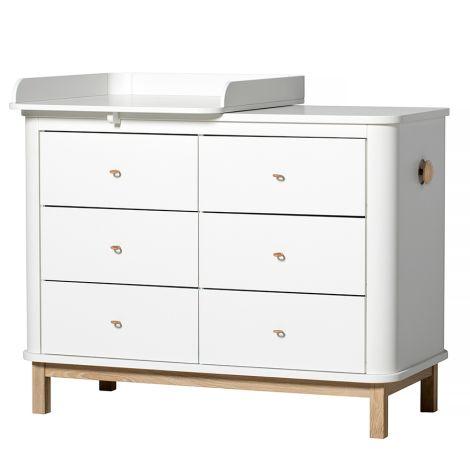 oliver furniture wood wickelkommode 6 schubladen mit kleiner wickelplatte wei eiche online. Black Bedroom Furniture Sets. Home Design Ideas