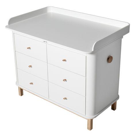 Oliver Furniture Wood Wickelkommode 6 Schubladen mit großer Wickelplatte Weiß/Eiche