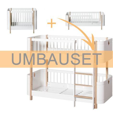 Oliver Furniture Umbauset Wood Mini+ Basic und Geschwisterset zum halbhohen Etagenbett Weiß/Eiche