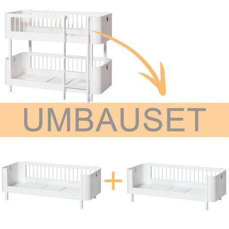 Oliver Furniture Umbauset Wood Mini+ halbhohes Etagenbett zu 2 Juniorbetten Weiß