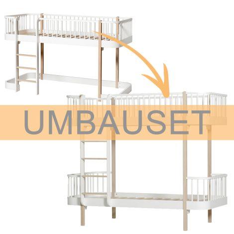 Oliver Furniture Umbauset Wood Halbhohes Hochbett (Leiter vorne) zum Etagenbett Weiß/Eiche