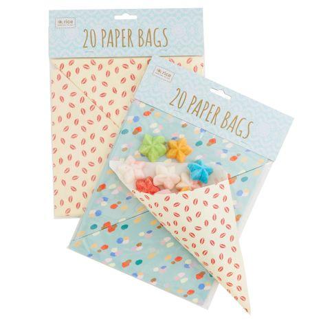 Rice Papier-Tüten Kiss oder Dapper Dot 20 Stück