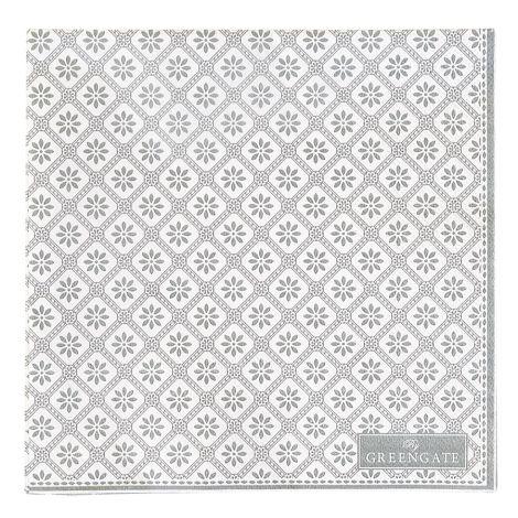 GreenGate Papierservietten Bianca Warm Grey 20 Stück •