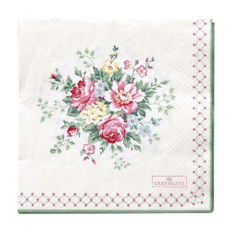 GreenGate Papierserviette Aurelia White Large 20 Stk. •