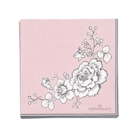 GreenGate Papierserviette Ella Pale Pink 20 Stk. •