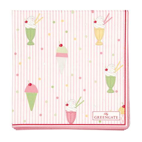 GreenGate Papierserviette Isa Pale Pink Small 20 Stk.