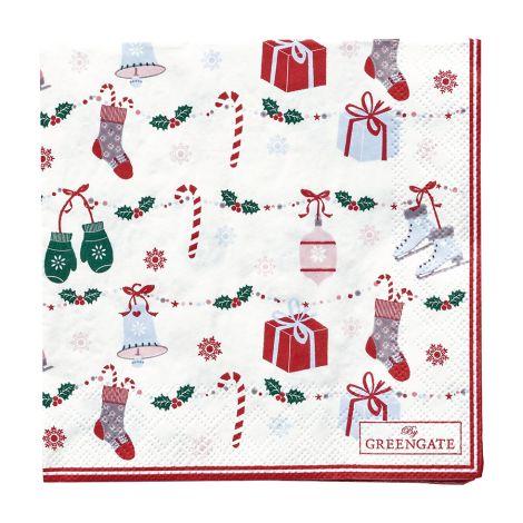 GreenGate Papierserviette Jingle Bell White Small 20 Stk.