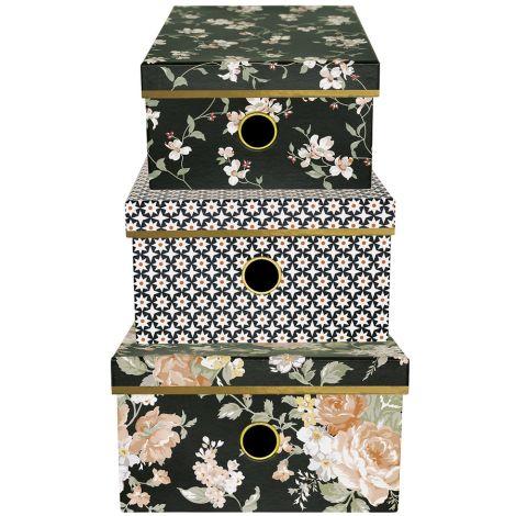 GreenGate Aufbewahrungsbox Josephine Black 3er-Set •