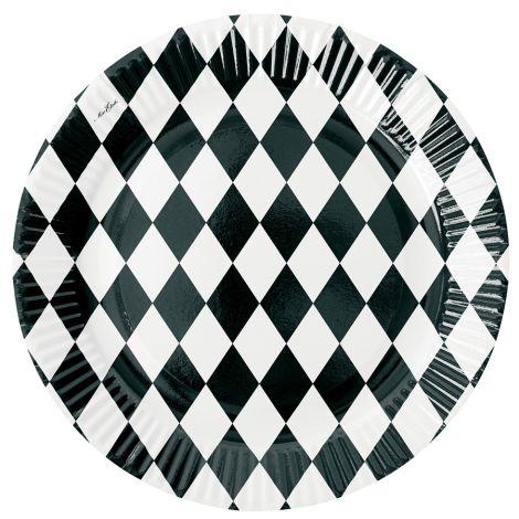 Miss Étoile Pappteller Harlequin Weiß 8er-Set •
