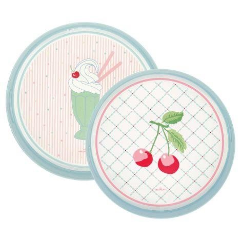 GreenGate Tablett Isa Pale Pink Rund 2er-Set