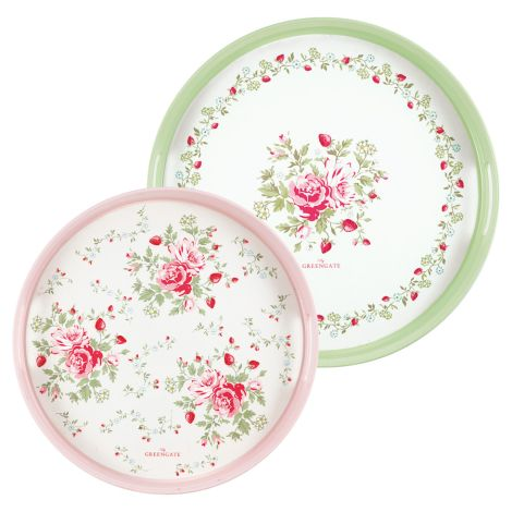 GreenGate Tablett Mary White Rund 2er-Set •