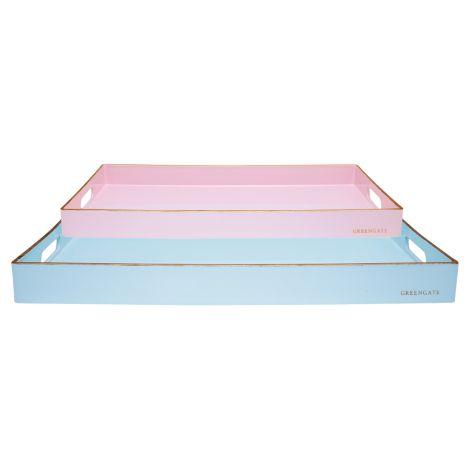GreenGate Tablett rechteckig Pale Blue Gold 2er-Set •