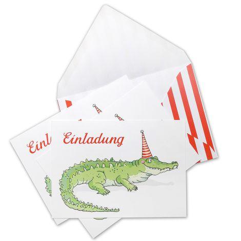krima & isa Einladungskarten Krokodil 6er-Set